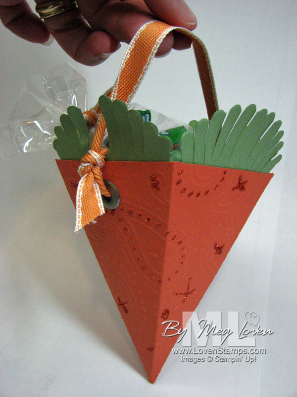 Stampin Up Petal Cone Die Carrot Basket - from LovenStamps with tutorial