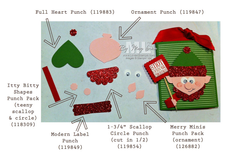Elf on the Shelf Stampin' Up Punch Art directions