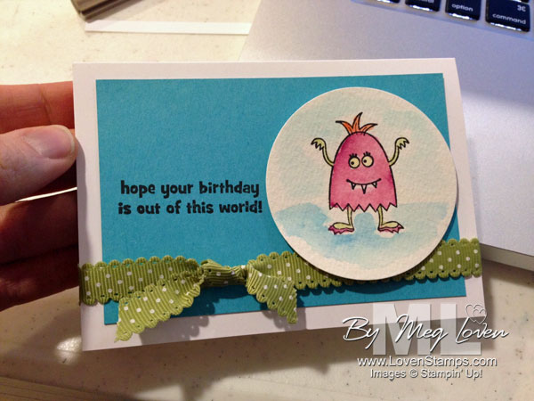 Make A Monster Birthday Card Idea - watercoloring techniques