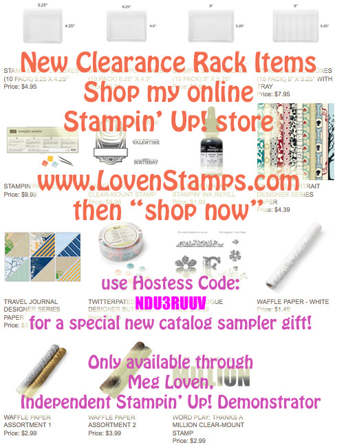 Clearance Rack- new items added! Use hostess code NDU3RUUV for a free new catalog sampler gift