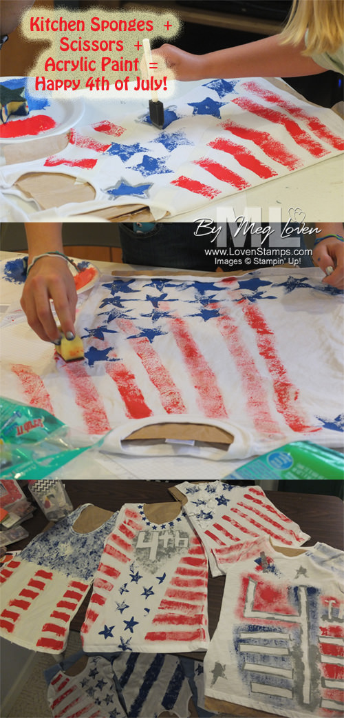 4th of July homemade tshirts howto: sponges and acrylic paint