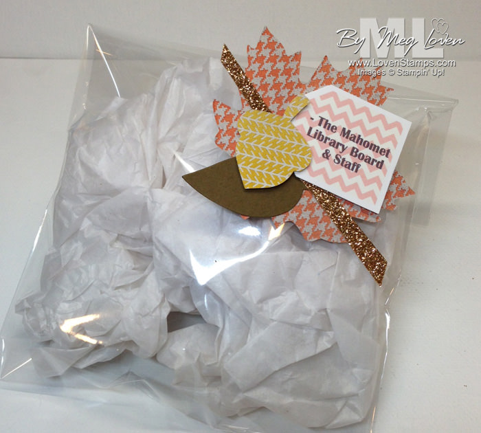 library volunteer appreciation project - collage bag tags with Autumn Accents Big Shot die by LovenStamps