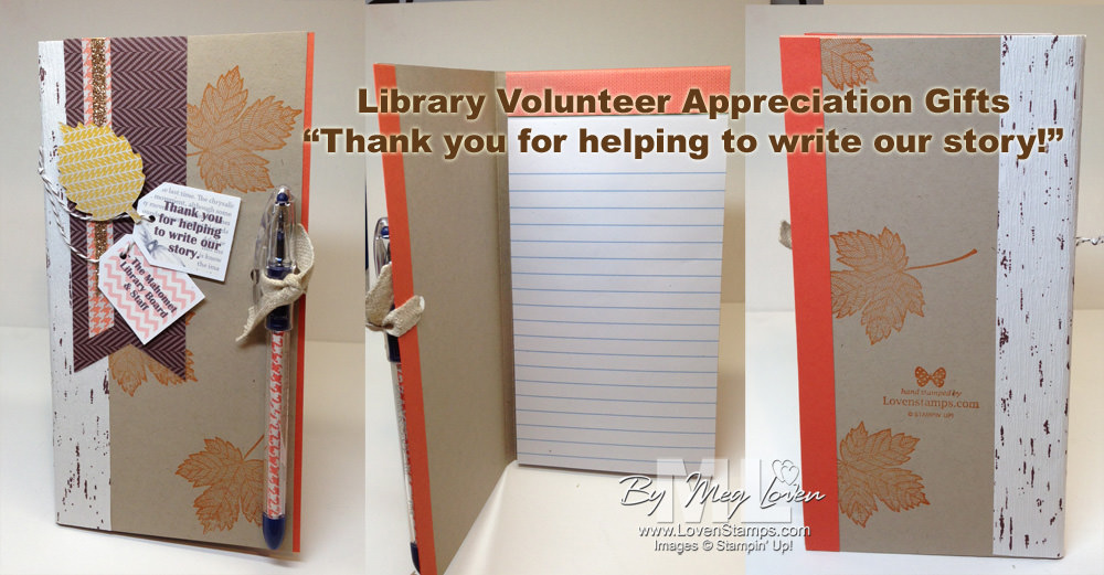 Library Volunteer Gift Idea - Thanks for helping to write our story! (notebook & pen gift set) by LovenStamps