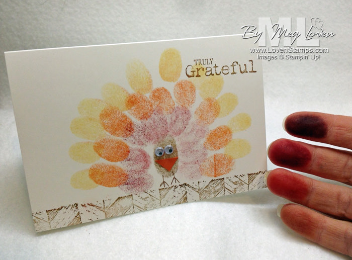 Turkey Fingerprint Drawing Note Cards - Happy Thanksgiving! from LovenStamps