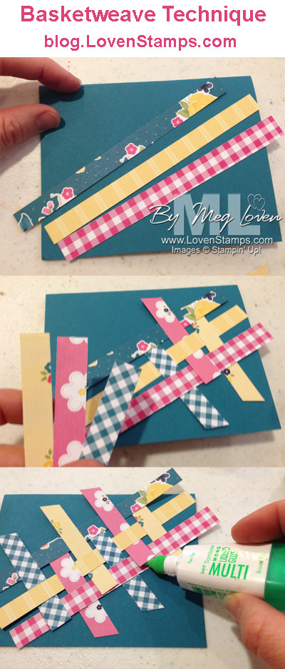 Basketweave technique for recycling leftover strips of scrapbooking paper - Video Tutorial by LovenStamps