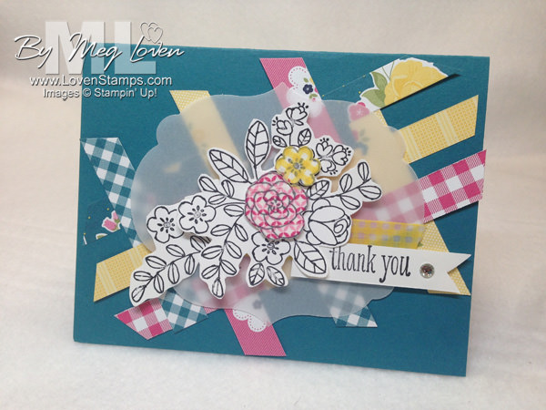 Gingham Garden basketweave card tutorial - use your scraps of scrapbooking papers for a fun background!  By LovenStamps