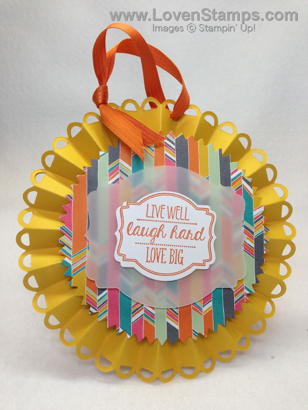 Oh My Goodies & Deco Label Framelits for a fun Designer Rosette Die tag - by LovenStamps with Stampin' Up! products