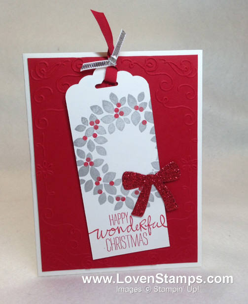 Wondrous Wreath stamp set: Christmas card bookmark idea with the Filigree Frame Embossing Folder by LovenStamps