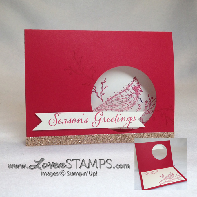 Beauty of the Season - cardinal Christmas card idea with a circle punch focal point by LovenStamps #stampinup
