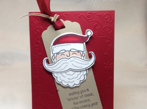 Santa Stache stamp set and framelit by Stampin' Up!, christmas bookmark card idea from LovenStamps