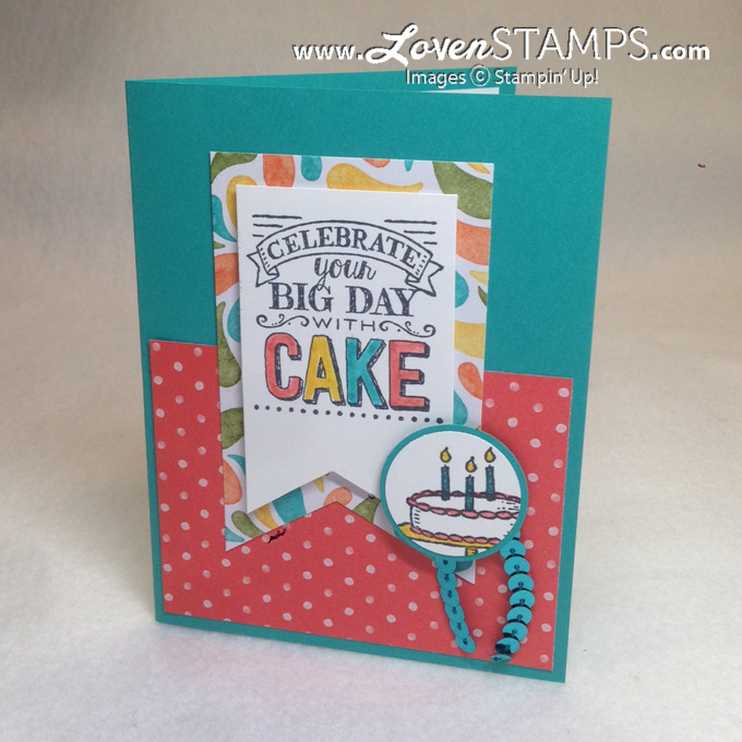 Get the Big Day stamp set from Stampin' Up for free during Sale-A-Bration; birthday card sample by LovenStamps