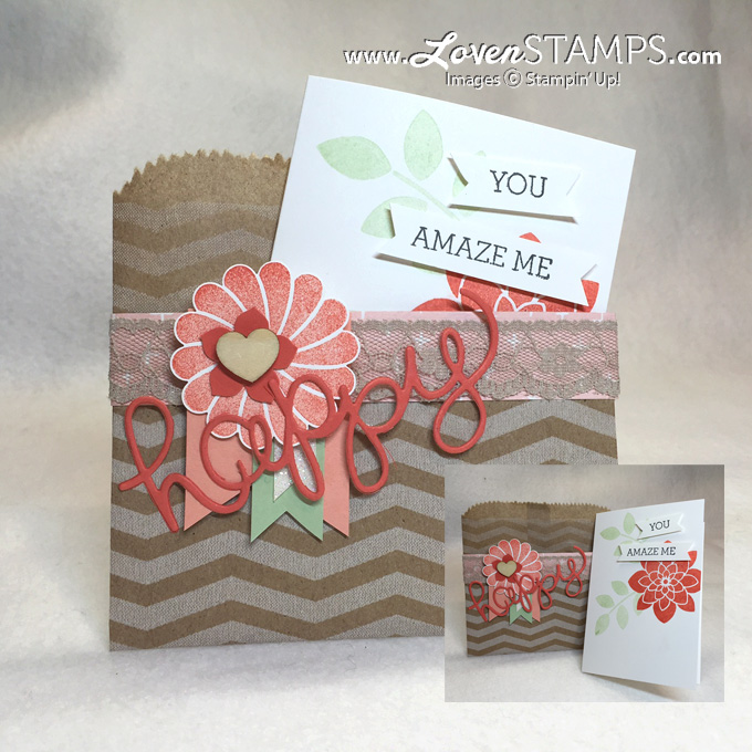 Hello You Thinlits and the Crazy About You stamp set from Stampin' Up! - Use your chevron gift bags for a fun pocket envelope. Project included with March Stamps in the Mail Club, only at LovenStamps.com