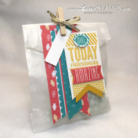 Amazing Birthday stamp set and Cherry on Top Designer Series Paper from Stampin' Up - treat bag by LovenStamps