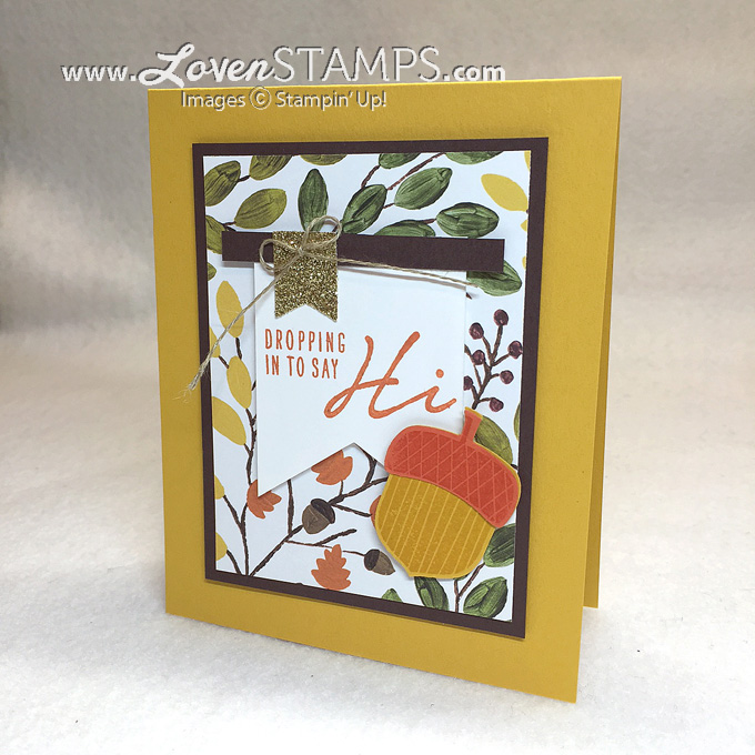 Acorny Thank You with Into the Woods Designer Series Paper: a LovenStamps video tutorial on using your paper wisely (products from Stampin' Up!)