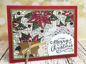 LovenStamps - Reason for the Season poinsettias on Typeset Designer Paper - November Stamps in the Mail Club with Meg - all supplies Stampin Up