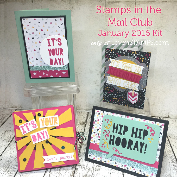 Party with Cake - LovenStamps Stamps in the Mail Club Sneak Peek Occsaions Catalog, all supplies Stampin' Up!