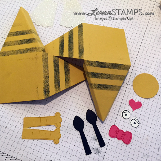 LovenStamps How To: Pyramid Pals Thinlits Dies and the Playful Pals stamp set - make a Valentine Bee Triangle Box, all supplies Stampin' Up