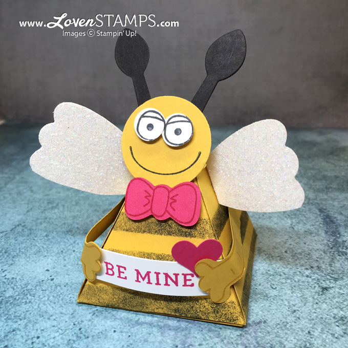 LovenStamps: Valentine Bee Treat Box with the Playful Pals and Pyramid Pals Thinlits - triangle box, all supplies Stampin' Up!