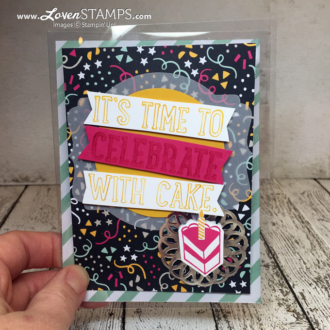 How To Make A Window Sheet Card - video tutorial by LovenStamps, Party with Cake kits available exclusively at LovenStamps, supplies by Stampin' Up!