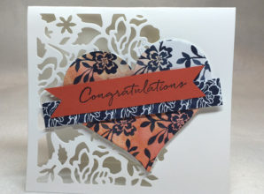 LovenStamps: Stamps in the Mail Club, July 2016 - Floral Phrases, featuring the Detailed Floral Thinlits, heart wedding card idea with all supplies from Stampin' Up