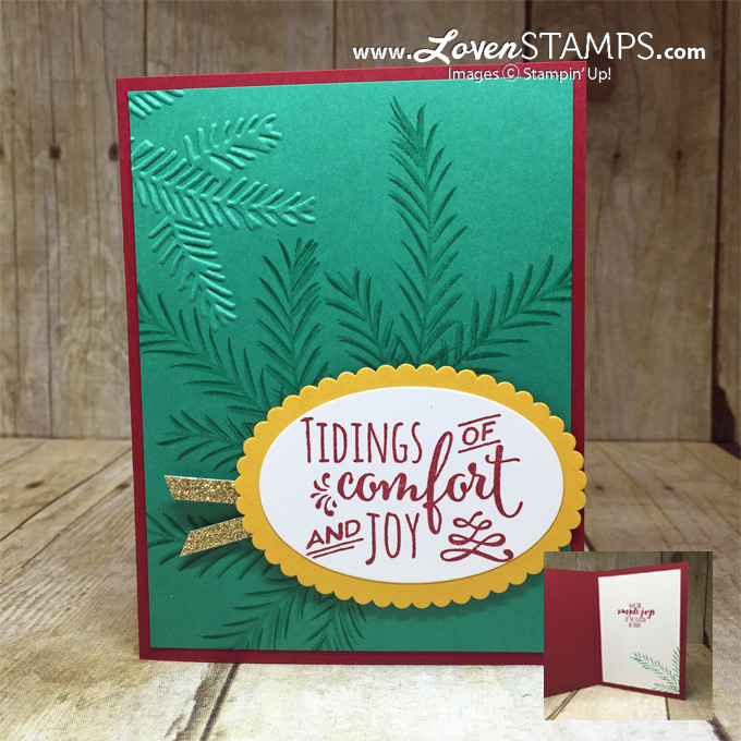 LovenStamps: Christmas Pines and the Pine Bough TIEF for traditional red and green Christmas (aka Cherry Cobbler and Emerald Envy)