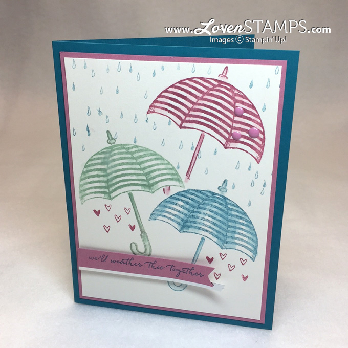 LovenStamps for Stamps in the Mail Club: Weather Together umbrella card with a Blender Pen Video Tutorial
