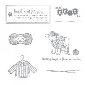 hand knit stamp set for knitters stamping up knitting tags