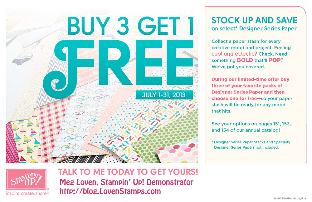 Stampin' Up! Scrapbooking Papers: Buy 3, Get 1 Free