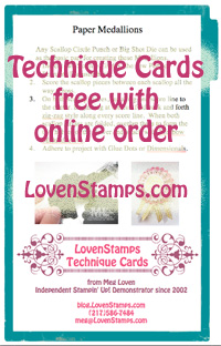 Stampin Up Technique Cards free with online orders: blog.LovenStamps.com