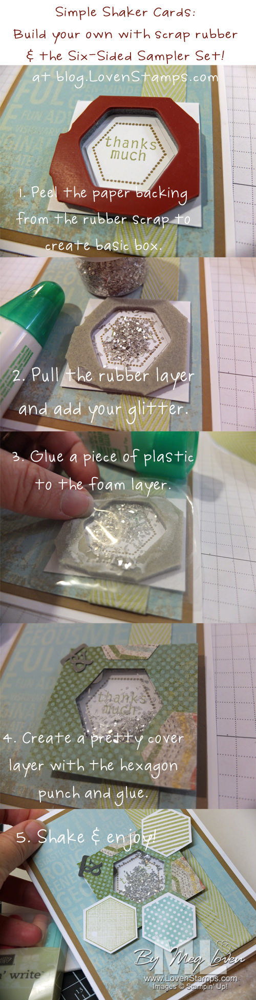 Six-Sided Sampler and the Hexagon Punch: Easy Shaker Card Tutorial free at blog.LovenStamps.com