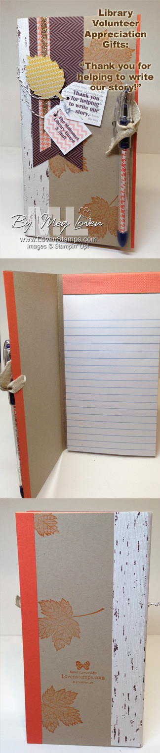 "Library Volunteer Appreciation gift idea - notebook & pen set ""Thanks for helping to write our story!"" theme, by LovenStamps.com"