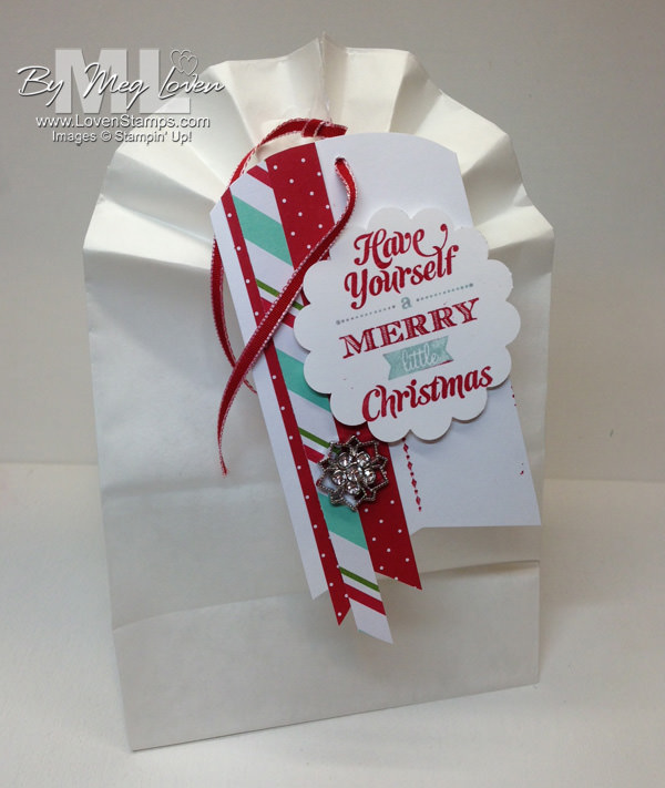 Merry Little Christmas Gift Bag & Card ideas - Video Tutorial from LovenStamps on making these easy DIY bags from white lunch sacks