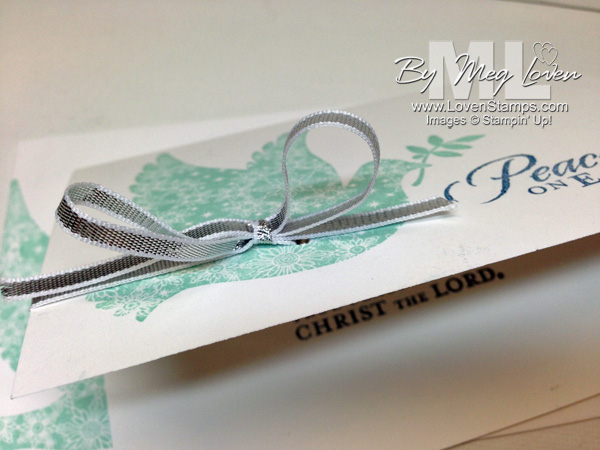 Silver Ribbon Trick for simple bows - Calm Christmas dove card from LovenStamps