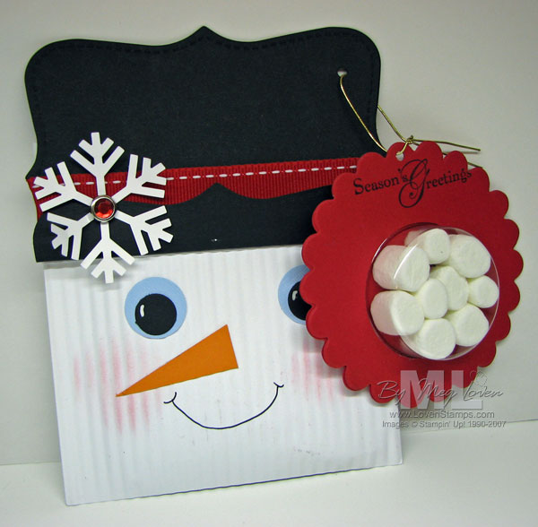 Sweet Treat Cup snowman cocoa treat - made from a crimped regular sized envelope - super easy and really cute! You can even recycle old bill envelopes to make these -- instructions from LovenStamps