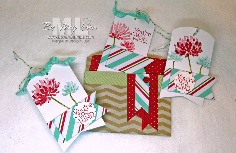 Too Kind Gift Tag Set (project video tutorial) - perfect for a christmas gift for teachers, neighbors or friends. Simple DIY with the Merry Little Christmas Bundle - from LovenStamps