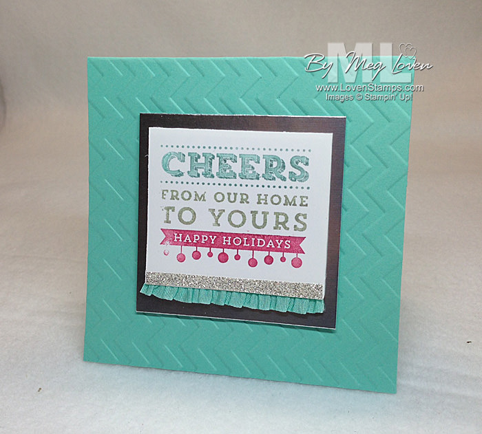 Cheers to You!  Single stamp Christmas card idea from LovenStamps (yay for glitter and ruffles!)