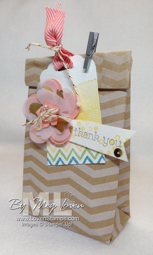 Tag A Bag Gift Bag - flat to fabulous Video Tutorial for making gift bags.  With Happy Watercolor tag by LovenStamps