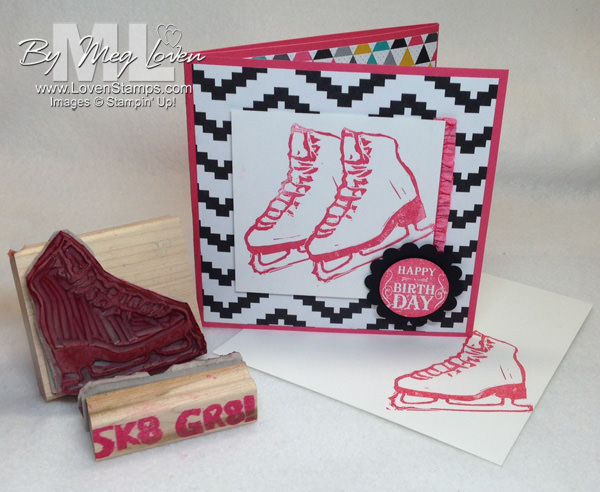 Ice Skating Birthday Card: Undefined stamp carving kit to make your own ice skate sports stamp - by LovenStamps