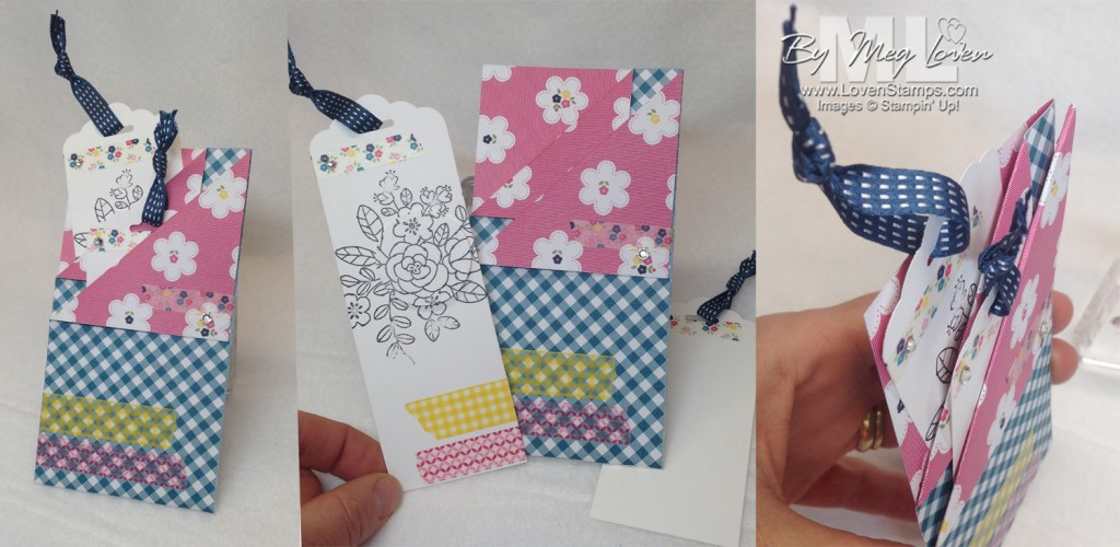 Gingham Garden Double Pocket Card - use bookmarks or tags for your message and a treat. Great for teachers and end of the year gifts! Video Tutorial from LovenStamps