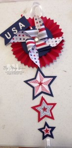 Stampin' Up! 4th of July home decor pinwheel rosette by LovenStamps
