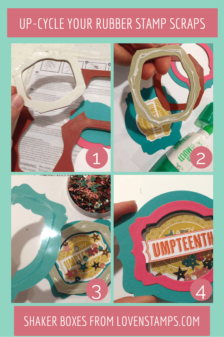 Save Your Rubber Scraps!  Upcycle the rubber frames and create fun Shaker Tags or cards! - by LovenStamps