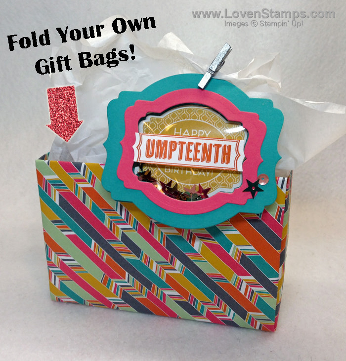 Fold Your Own Gift Bags - recycle your scrapbooking papers! Video Tutorial from LovenStamps