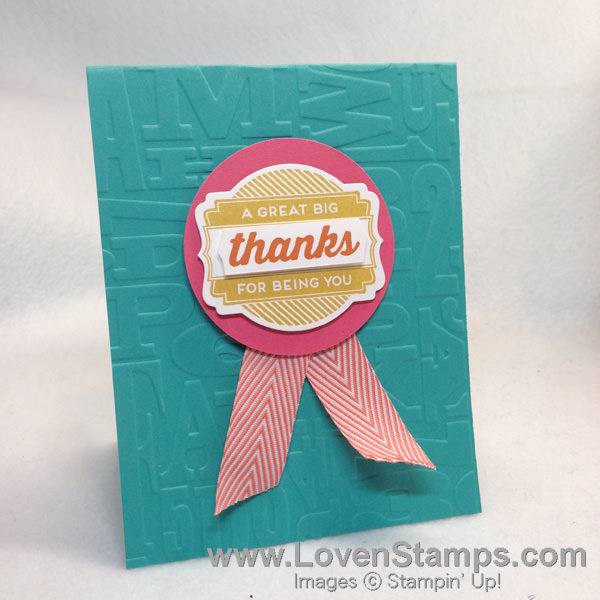 """Give 'em A Medal"" Thank You Card - because teachers deserve a medal! Project by LovenStamps with a Stamping 101 Video Tutorial"