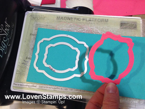 Use two framelits at the same time to create a fabulous Deco Label frame - by LovenStamps, with supplies from Stampin' Up!