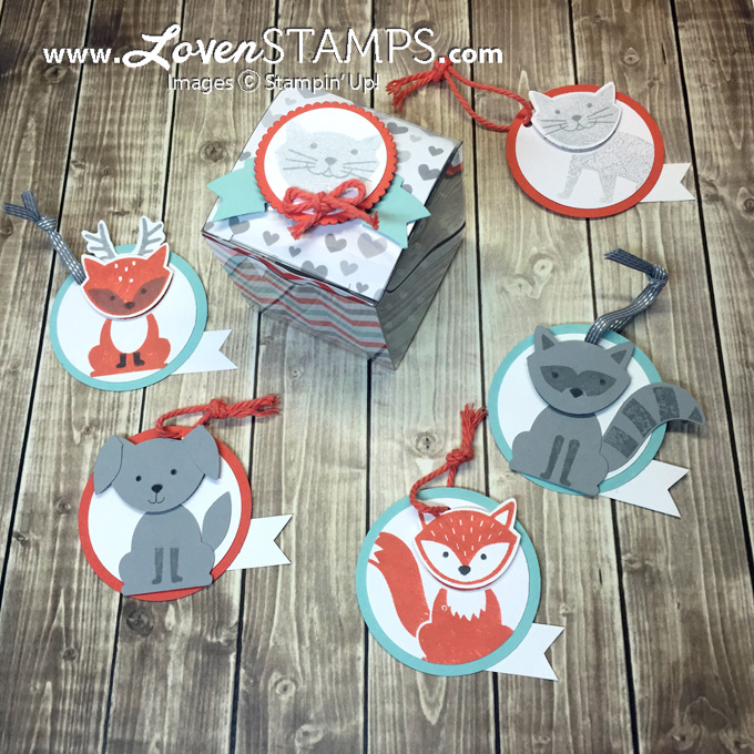 LovenStamps: Foxy Friends gift tag tiny treat box idea - includes fox, puppy dog, raccoon, cat and deer ideas, with all supplies included - kit available exclusively at LovenStamps