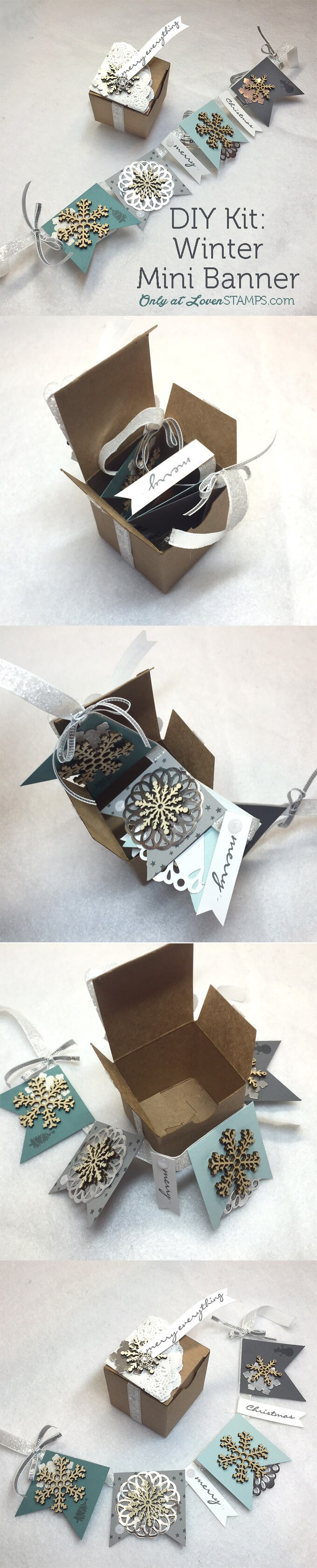 Snowflake Winter Mini Banner in a Box - a LovenStamps Exclusive Mail Club Project, All supplies Stampin' Up!