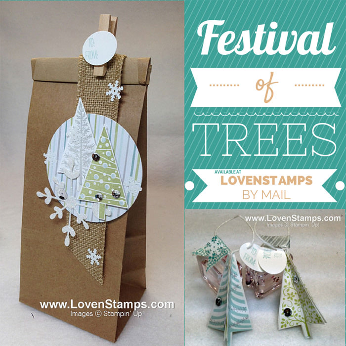 Festival of Trees: Cafe Gift Bag and 3D Tree Punch Ornaments for Stamps in the Mail Club with LovenStamps