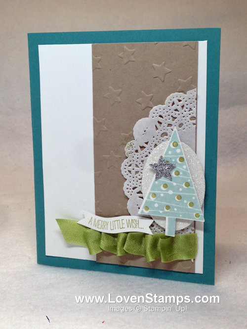 Ruffle Ribbon & Photopolymer Curvy Verses Technique Tutorial from LovenStamps with Festival of Trees by Stampin' Up!