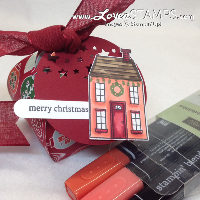 Holiday Home Christmas Tag with Blendabilities Markers and the Curvy Keepsakes Box Die - sample by LovenStamps