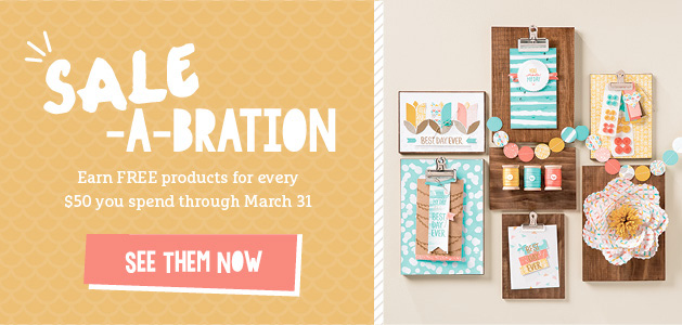 Sale-A-Bration Stampin' Up! sale is here, get FREE products with each $50 you order through March 31 - LovenStamps for ordering and details